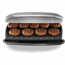 New George Foreman Classic Plate Electric Grill Silver 9 Serving Nonstick Lean