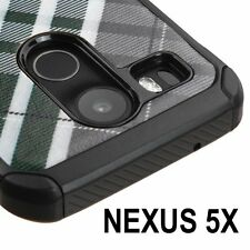 For LG Nexus 5X - HARD RUBBER HYBRID IMPACT ARMOR CASE COVER GREEN BLACK PLAID