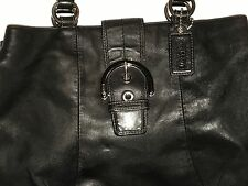 COACH SOHO Black Leather East West Shoulder Tote Shopper Purse Bag F18751