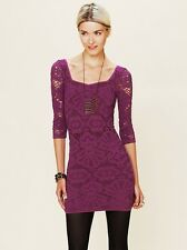 NEW✿ Free People MINI DRESS TOP TUNIC SHIRT M/L Bodycon Clubwear Burgundy