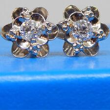 Vintage 14k Y Gold Fancy Sculptural European Cut Diamond Earrings
