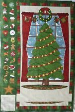 Christmas Advent Tree 100 %Cotton Quilting Fabric Panel