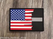 Tattered American Flag Thin Silver Line PVC Patch, Corrections
