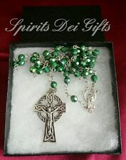 Irish Celtic Crucifix Catholic Rosary Gift Boxed