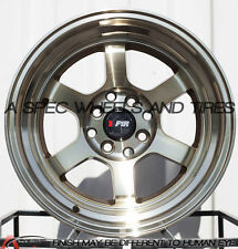 F1R F05 15x8 4x100/114.3 Et0 Machine Bronze Wheels Fits Miata Cabrio Xb Jetta
