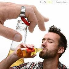 RING Beer Bottle Opener Stainless Steel Metal Finger Thumb keyring
