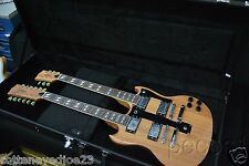 NEW NATURAL DOUBLE NECK 12 & 6 STRING SG VINTAGE STYLE ELECTRIC GUITAR & CASE
