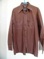 VTG 70s JC PENNEY TOWNCRAFT Casual SHIRT Penn-Prest Large Tapered Brown Chocolat