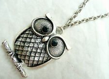 ACCESSORIZE LONG SILVER NECKLACE – VERY DETAILED OWL PENDANT WITH BLACK DIAMANTE