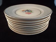8 Plates Crown Pottery Company Pattern 1149 Grey and White with Gold