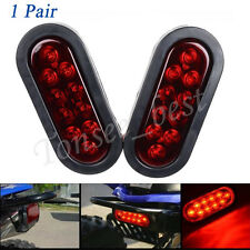 1 Pair  6'' Tail LED Light Trailer Truck Oval Stop Turn Pigtail Boat Brake Light