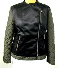 Neu coole Damen Kurz Jacke Bikerjacke schwarz grün Lederimitat +Stepp Taschen 46