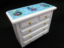 Doll house Chest of Drawers wooden white  Blue Miniature 1/12th