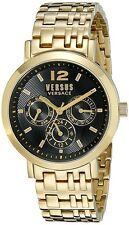 Versus Versace SOR090015 Unisex Manhasset Black Dial Gold IP Steel Date Watch