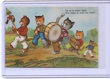 VINTAGE DUTCH DRESSED CATS MARCHING AND PLAYING MUSIC POSTCARD 1951 POSTMARK