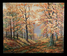 "VINTAGE AUTUMN FOREST TREES LANDSCAPE OIL PAINTING LISTED WALLACE HOWARD 30""x25"""