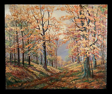 """VINTAGE AUTUMN FOREST TREES LANDSCAPE OIL PAINTING LISTED WALLACE HOWARD 30""""x25"""""""