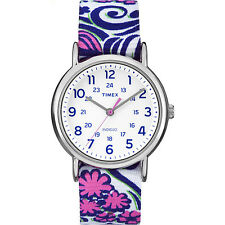 """Timex TW2P90200, Women's """"Weekender"""" Floral Fabric Watch, Indiglo, TW2P902009J"""
