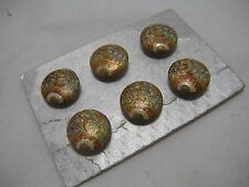 Set 6 Antique Vintage Japanese Satsuma Porcelain Buttons on original backing