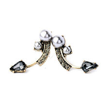 New Design Vintage Gold Unique Gray Crystal Pearls Stud Earrings Fashion Jewelry