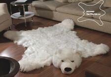 "Fake Fur White POLAR BEAR skin bearskin RUG LARGE SIZE 76,7"" 61,4"" inches new"