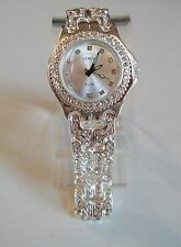 Designer Style hip hop CZ Bling clubbing silver finish fashion watch