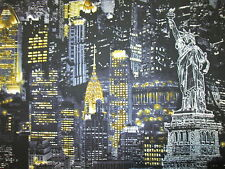 NYC NEW YORK CITY BUILDINGS LANDMARKS YELLOW BLUE GRAY COTTON FABRIC FQ