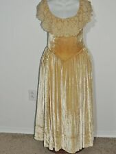 1920's Cream Silk Velvet Robe De Style Dress w Lace Ruffle SM