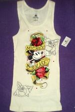MICKEY MOUSE TATTOO  Racer Back TANK WITH RED CRYSTALS, SHINY RED ROSES NWT  S