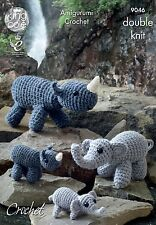 KINGCOLE 9046 Amigurumi Rhino & Elephant CROCHET PATTERN-not the finished toys
