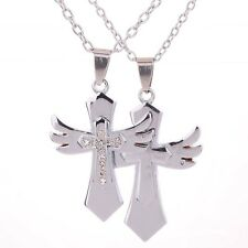 Couple Wing Cross Love His And Hers Necklace Stainless Steel Valentine's Day