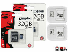 2 PACK - Kingston 32GB micro SDHC Class 4 Flash Memory SD Card + Case Lot of 2