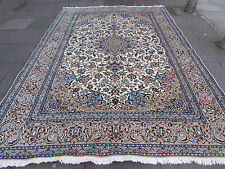 Fine OLD Traditional Hand Made PERSIAN Rug Wool Silk Cream Carpet Rug 372x256cm