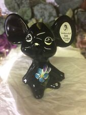 Fenton Glass Mouse Black 2005 100 Yr Label Intact