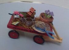 Dollhouse mini 1:12 scale spring garden wood wagon bird house /seed packs/hat