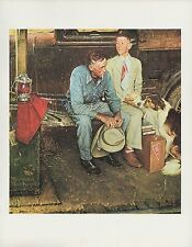 "1977 VINTAGE ""BREAKING HOME TIES"" NORMAN ROCKWELL MINI POSTER COLOR Lithograph"
