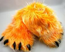 Monster Long Hair Orange Big Foot Bear Animal Plush Claw Paw Teen Slippers