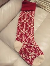 1 NWT Pottery Barn classic Red Snowflake fair isle Knit Christmas stocking More