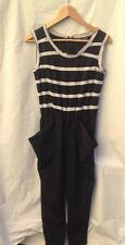 NEW $1695 ALEXANDER McQueen Women's Navy Blue and Ivory Jumpsuit Size S