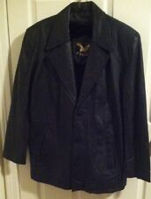 Vintage Black Button Down ADLER Leather Coat Removable Fur Insulated Lining Med