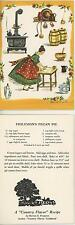VINTAGE CAST IRON STOVE TEAPOT BUTTER CROCK CHEF PECAN PIE RECIPE CARD PRINT