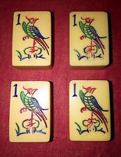 Vtg Hand Carved Chinese Bakelite Mahjong Set~28 Flowers~4 Carved Jokers