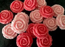 12 PINK BLOOM EDIBLE ROSES CUPCAKE/ CAKE DECORATIONS SUGAR PASTE FLOWERS ICING