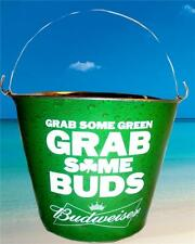 BUDWEISER GRAB SOME BUDS BEER ICE BAR SNACK METAL BUCKET St Patricks Day COOLER