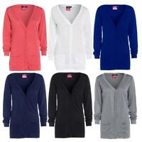 Womens New Button Up Boyfriend Cardigan Top Ladies Long Sleeve Pocket Cardi 8-20