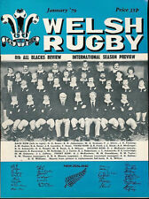 WELSH RUGBY MAG JAN 1979 BRIDGEND & MONMOUTHSHIRE V NZ ALL BLACKS, RAY PROSSER
