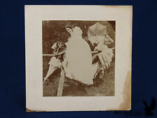 Antique Portrait 2 Ladies On Fence Parasols Hat Flowers Risque Legs Showing