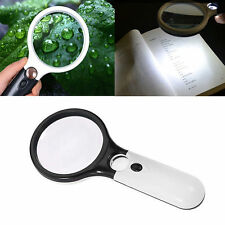 45X Handheld 3 LED Light Magnifier Reading Magnifying Glass Lens Jewelry Loupe *