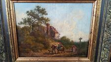 Antique pre-1800-1899 Original oil painting Travelers Donkey Dog on Path Cottage
