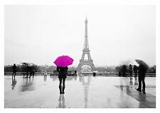 LADY - PINK UMBRELLA In Paris Painting Large Canvas Picture 30x20""